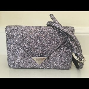REBECCA MINKOFF Leather glitter crossbody bag